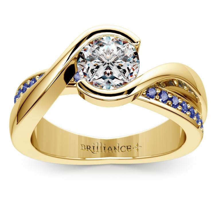 Bezel Sapphire Gemstone Bridge Engagement Ring in Yellow Gold | 01