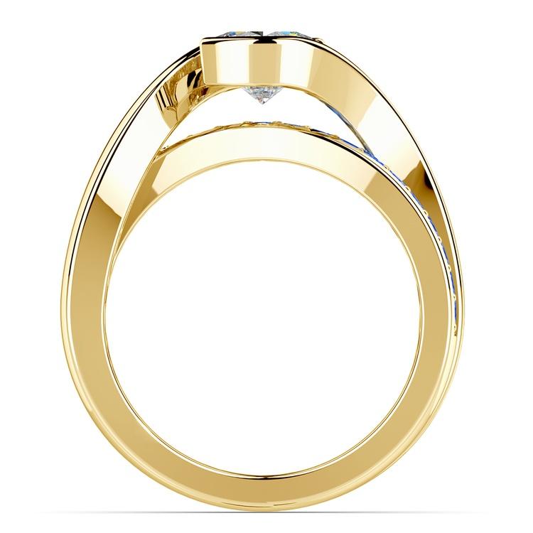 Bezel Sapphire Gemstone Bridge Engagement Ring in Yellow Gold | 02