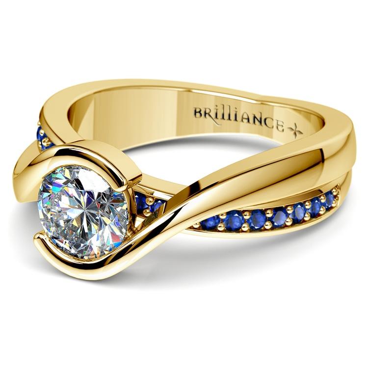 Bezel Sapphire Gemstone Bridge Engagement Ring in Yellow Gold | 04