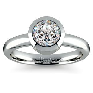 Bezel Solitaire Engagement Ring in Palladium