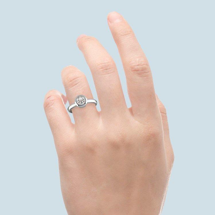 Bezel Solitaire Engagement Ring in Platinum   06