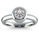 Bezel Solitaire Engagement Ring in White Gold | Thumbnail 01