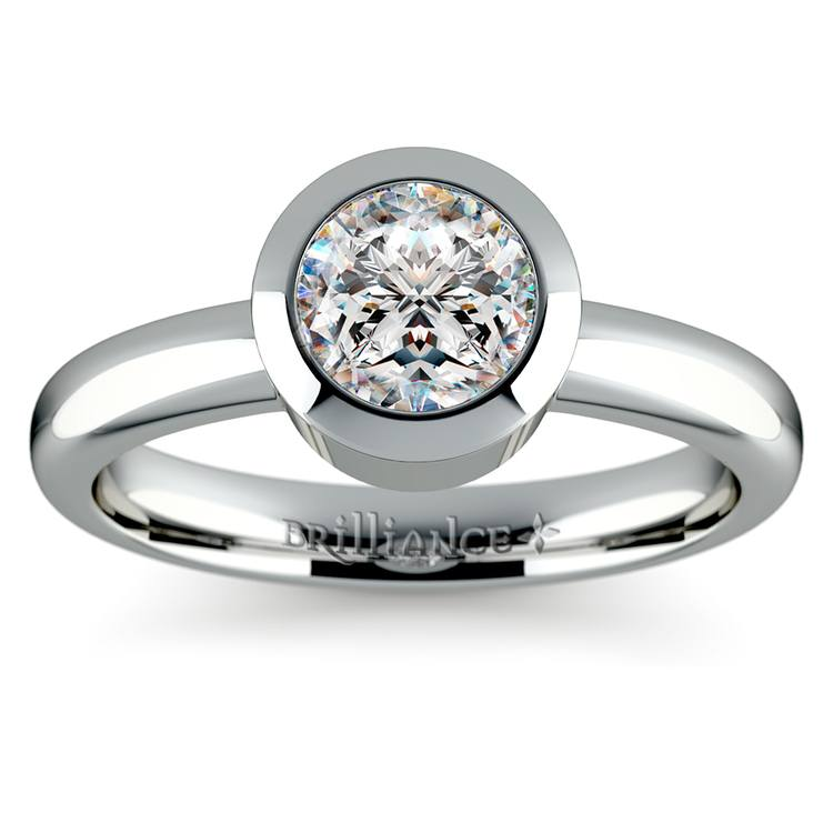 Bezel Solitaire Engagement Ring in White Gold | 01