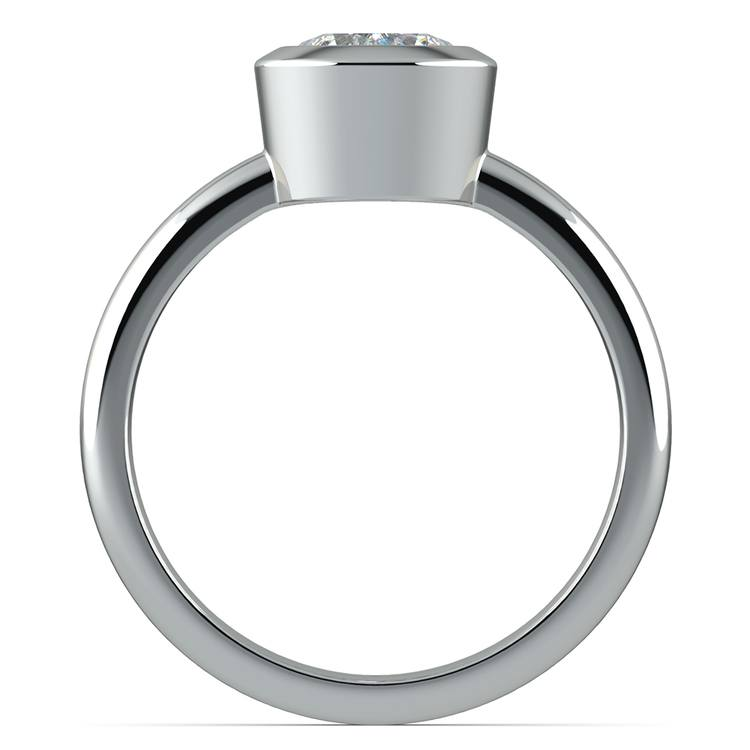 Bezel Solitaire Engagement Ring in White Gold | 02