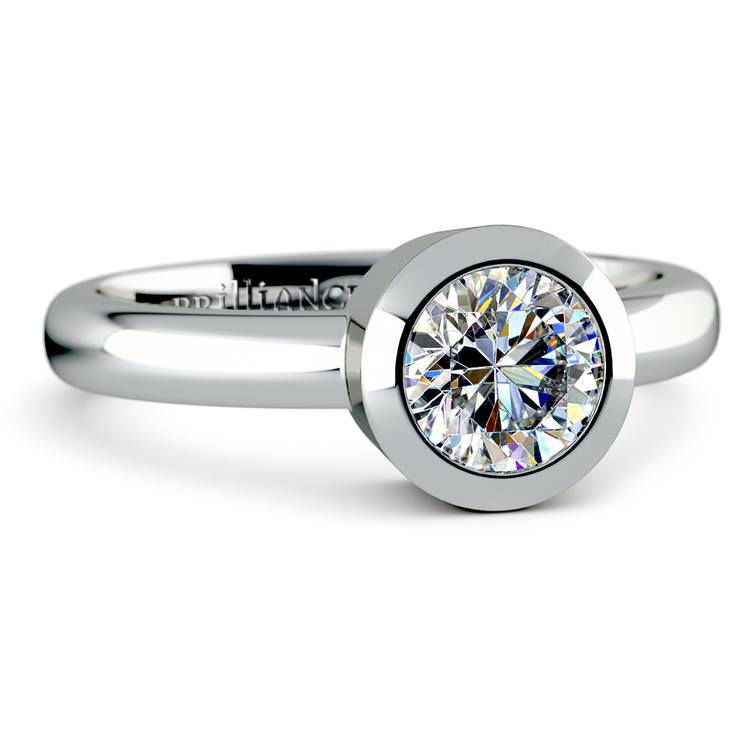 Bezel Solitaire Engagement Ring in White Gold | 04