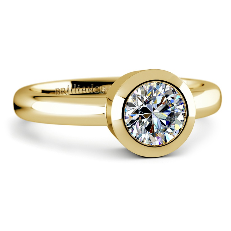 Bezel Solitaire Engagement Ring in Yellow Gold | 04