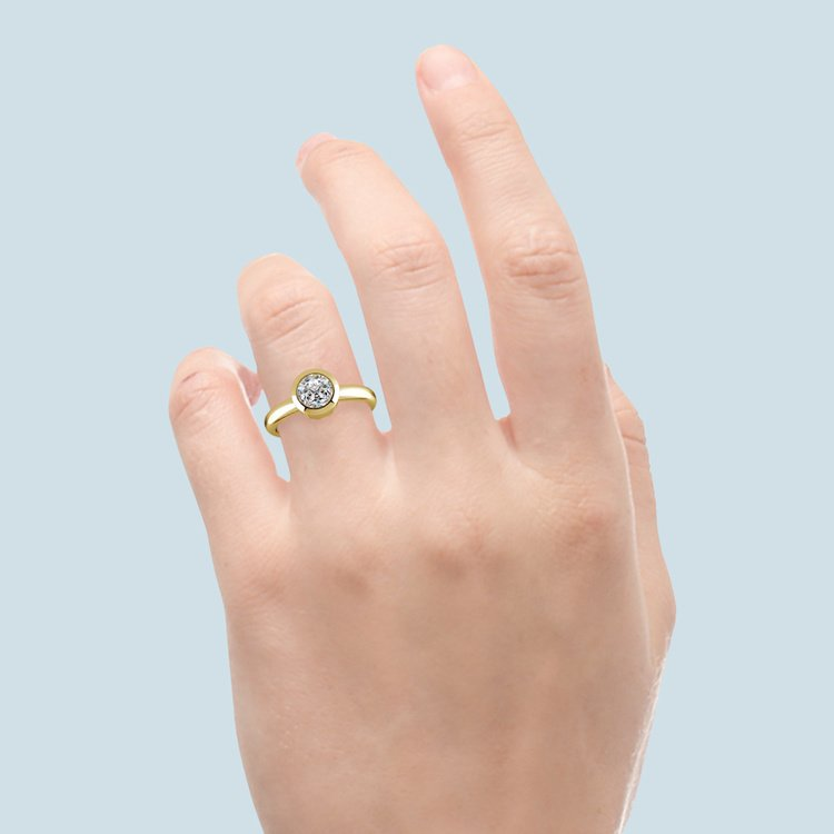 Bezel Solitaire Engagement Ring in Yellow Gold | 06