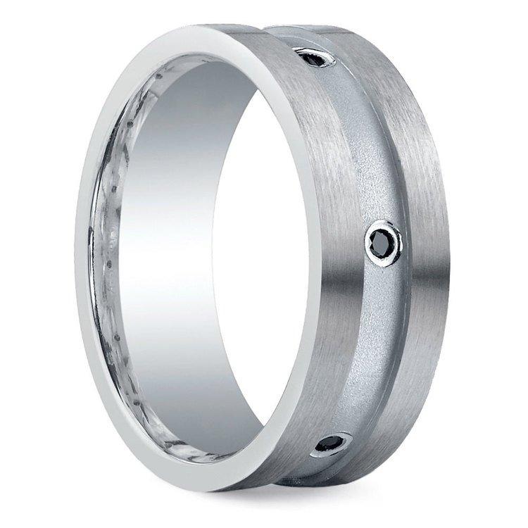 Black Diamond Silver Men's Engagement Ring | 02