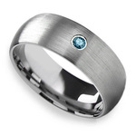 Brushed Tungsten Mens Engagement Ring With Blue Diamond | Thumbnail 03
