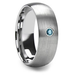 Brushed Tungsten Mens Engagement Ring With Blue Diamond | Thumbnail 02