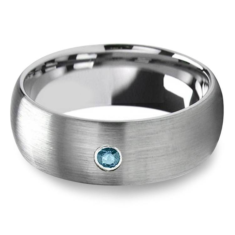 Brushed Tungsten Mens Engagement Ring With Blue Diamond | 01