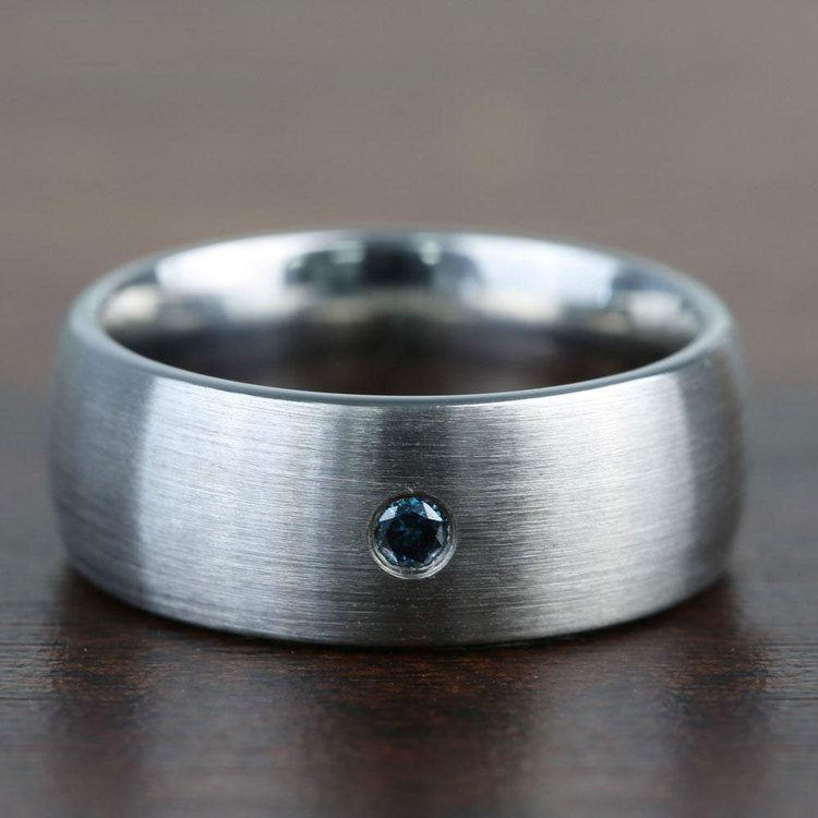 Brushed Tungsten Mens Engagement Ring With Blue Diamond | 04