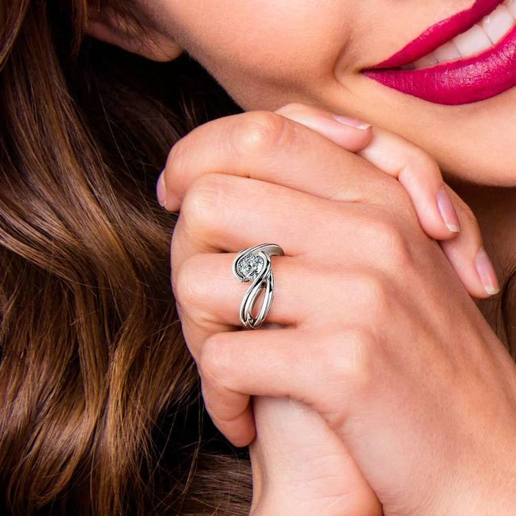 Bypass Solitaire Engagement Ring in Platinum | 07