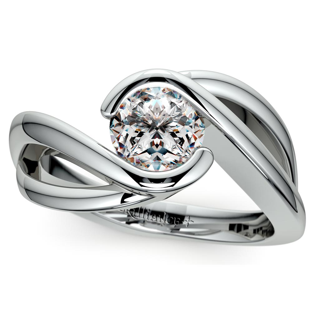 Bypass Solitaire Engagement Ring In Platinum