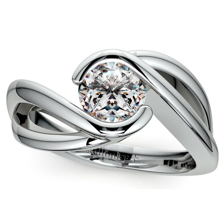 Bypass Solitaire Engagement Ring in White Gold | 01