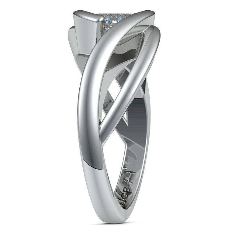 Bypass Solitaire Engagement Ring in White Gold | 03