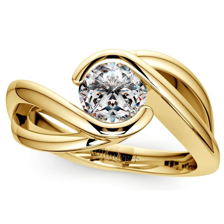 Bypass Solitaire Engagement Ring in Yellow Gold | 01