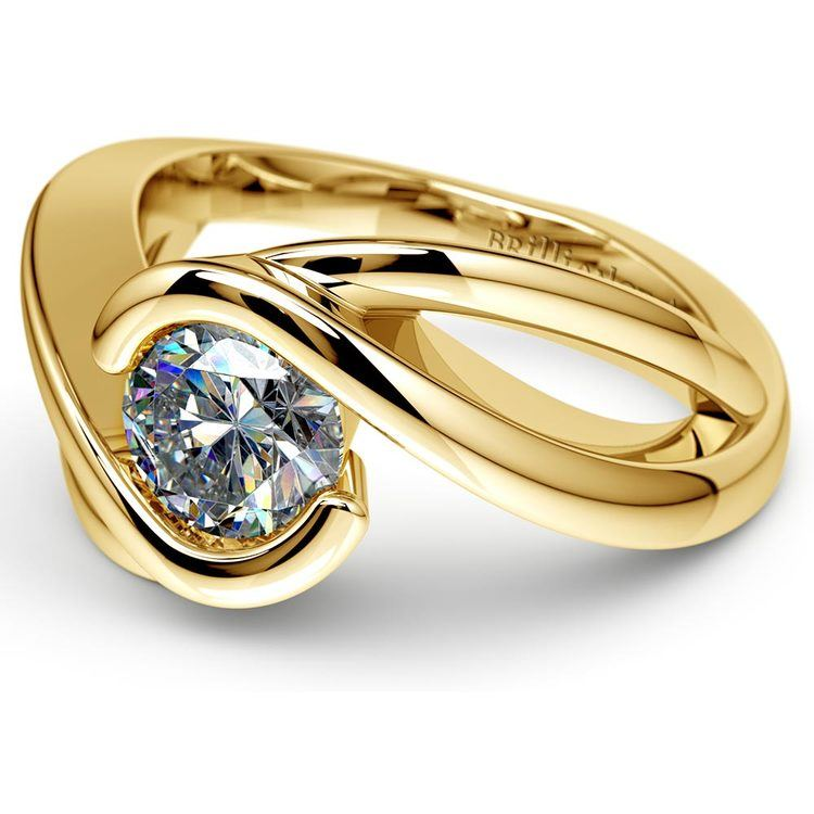 Bypass Solitaire Engagement Ring in Yellow Gold | 04