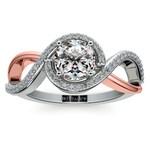 Bypass Split Shank Diamond Engagement Ring in Platinum & Rose Gold | Thumbnail 01
