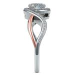 Bypass Split Shank Diamond Engagement Ring in Platinum & Rose Gold | Thumbnail 03