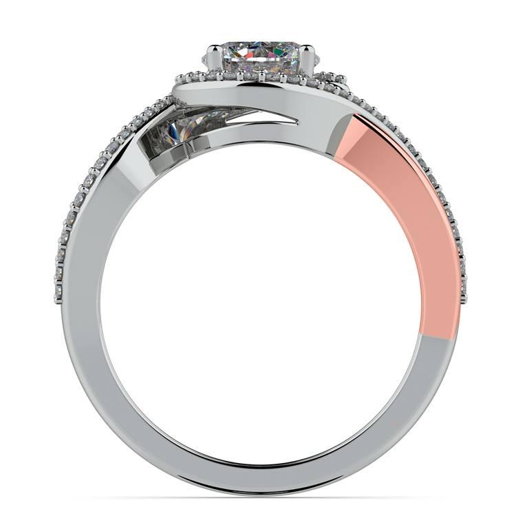 Bypass Split Shank Diamond Engagement Ring in Platinum & Rose Gold | 02