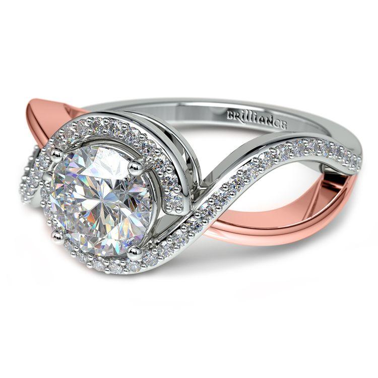 Bypass Split Shank Diamond Engagement Ring in Platinum & Rose Gold | 04
