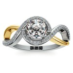 Bypass Split Shank Diamond Engagement Ring in Platinum & Yellow Gold | Thumbnail 01