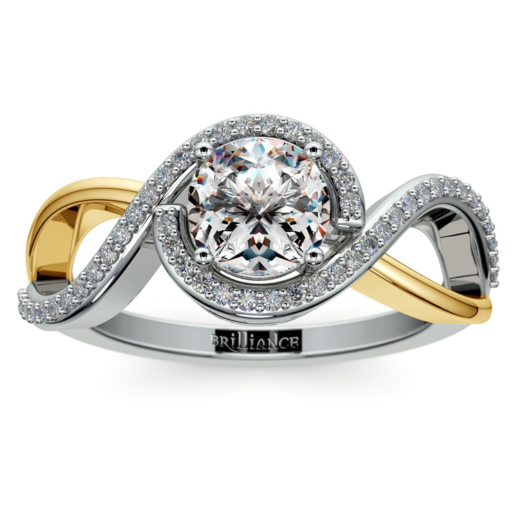 Bypass Split Shank Diamond Engagement Ring in Platinum & Yellow Gold | 01