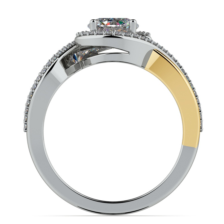 Bypass Split Shank Diamond Engagement Ring in Platinum & Yellow Gold | 02