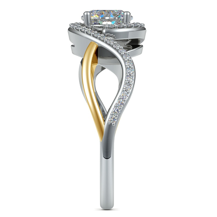 Bypass Split Shank Diamond Engagement Ring in Platinum & Yellow Gold | 03