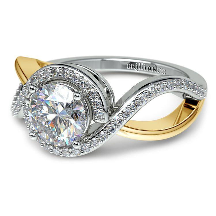Bypass Split Shank Diamond Engagement Ring in Platinum & Yellow Gold | 04