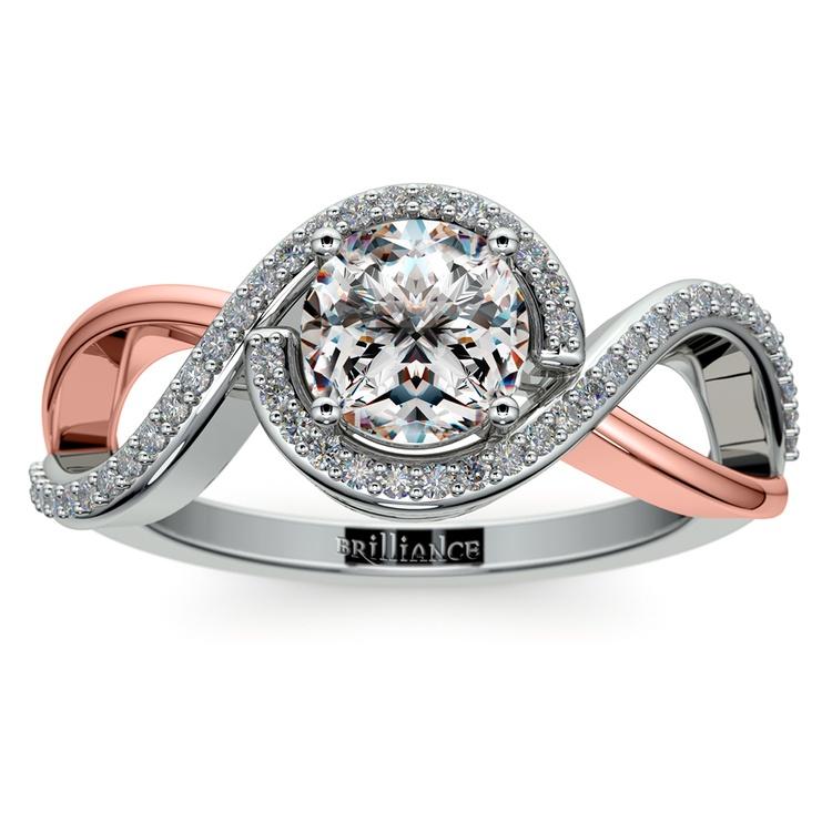 Bypass Split Shank Diamond Engagement Ring in White & Rose Gold   01