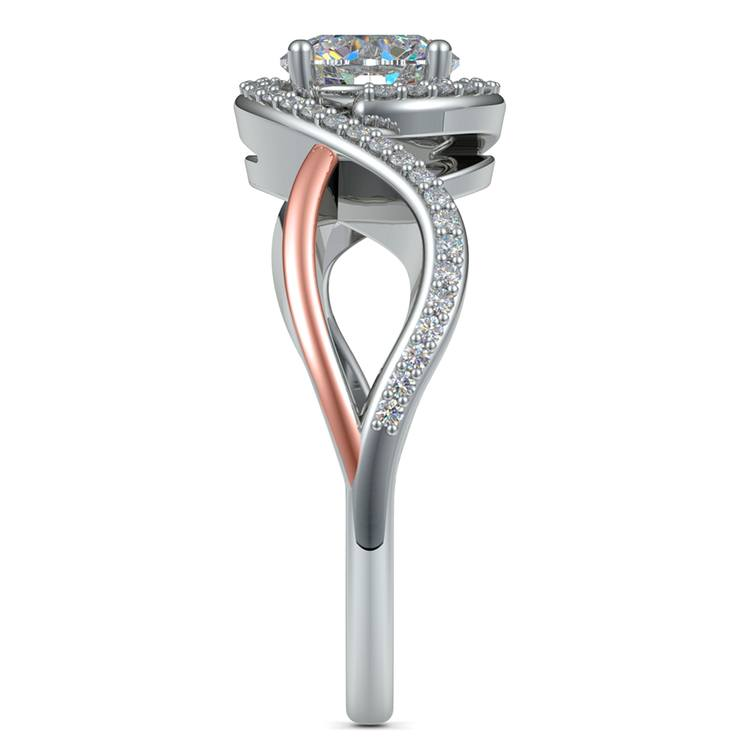 Bypass Split Shank Diamond Engagement Ring in White & Rose Gold   03