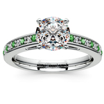 Cathedral Diamond & Emerald Gemstone Engagement Ring in Platinum   Thumbnail 01