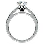 Cathedral Diamond & Emerald Gemstone Engagement Ring in Platinum   Thumbnail 02