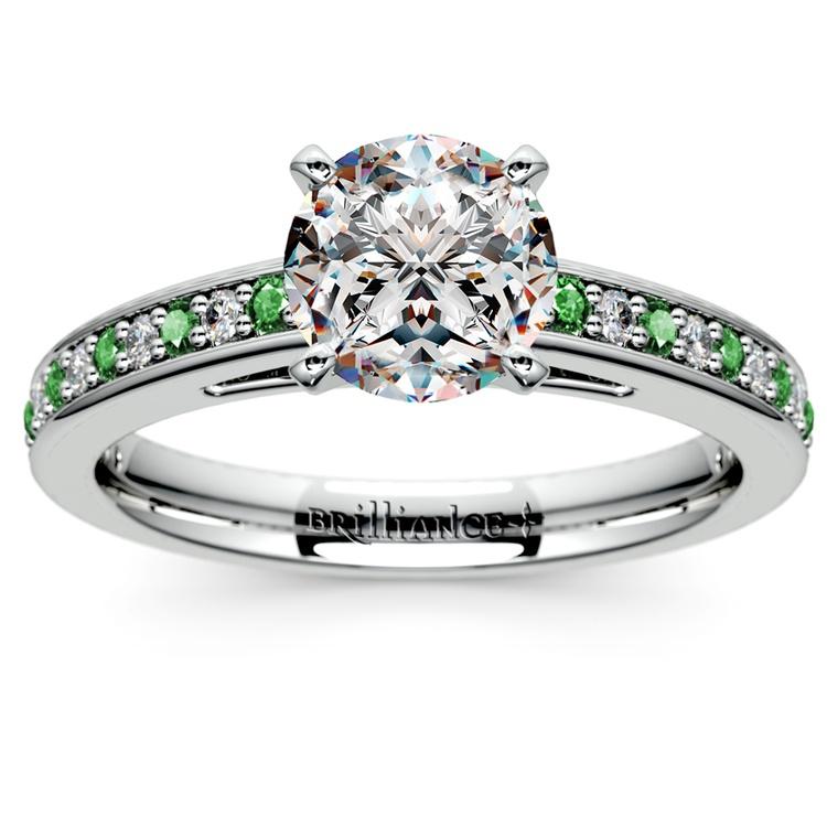 Cathedral Diamond & Emerald Gemstone Engagement Ring in Platinum   01