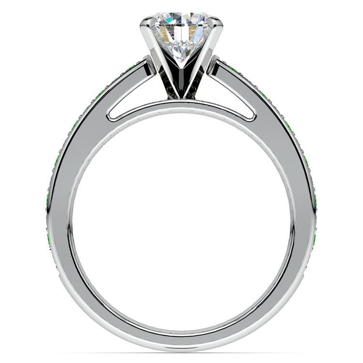 Cathedral Diamond & Emerald Gemstone Engagement Ring in Platinum   02