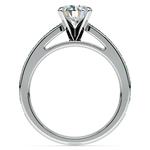 Cathedral Diamond & Emerald Gemstone Engagement Ring in White Gold | Thumbnail 02