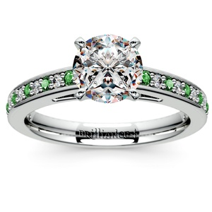 Cathedral Diamond & Emerald Gemstone Engagement Ring in White Gold
