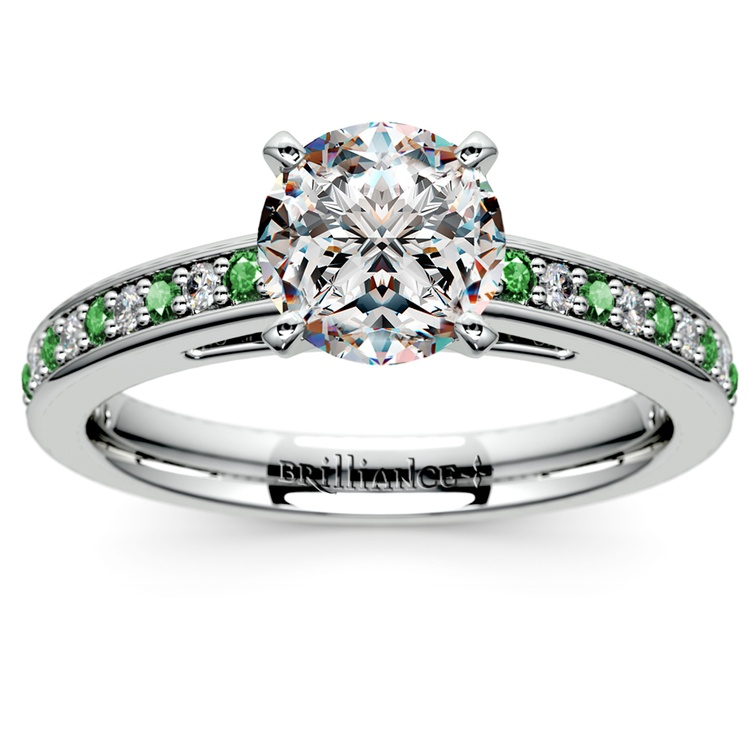 Cathedral Diamond & Emerald Gemstone Engagement Ring in White Gold | 01