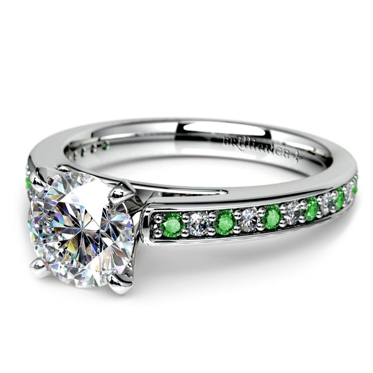 Cathedral Diamond & Emerald Gemstone Engagement Ring in White Gold | 04