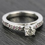 Cathedral Diamond & Pink Sapphire Gemstone Engagement Ring in Platinum | Thumbnail 05