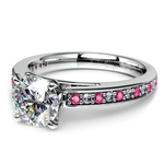 Cathedral Diamond & Pink Sapphire Gemstone Engagement Ring in Platinum | Thumbnail 04