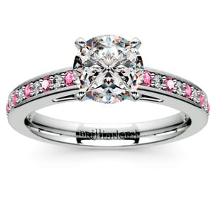 Cathedral Diamond & Pink Sapphire Gemstone Engagement Ring in Platinum