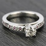 Cathedral Diamond & Pink Sapphire Gemstone Engagement Ring in White Gold | Thumbnail 05