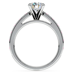 Cathedral Diamond & Pink Sapphire Gemstone Engagement Ring in White Gold | Thumbnail 02