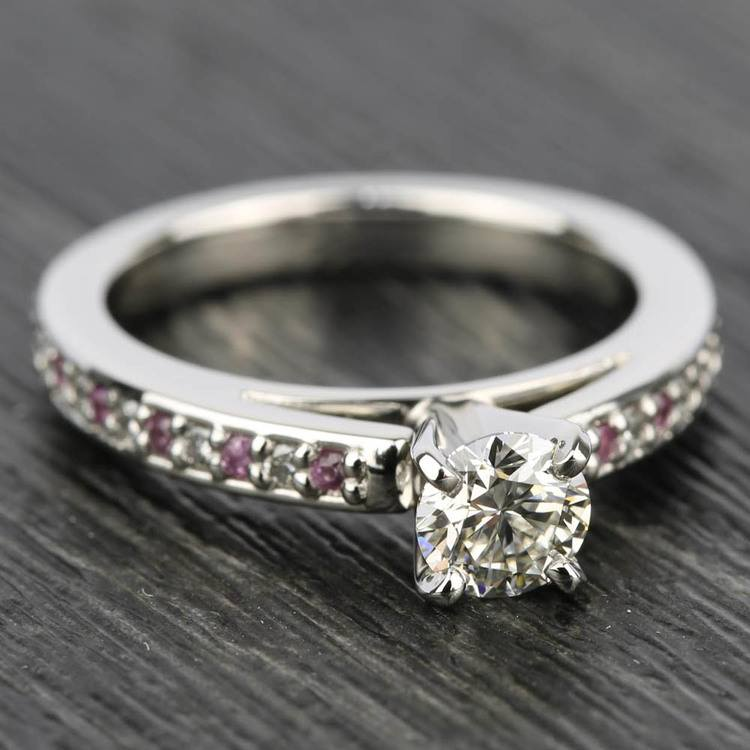 Cathedral Diamond & Pink Sapphire Gemstone Engagement Ring in White Gold | 05