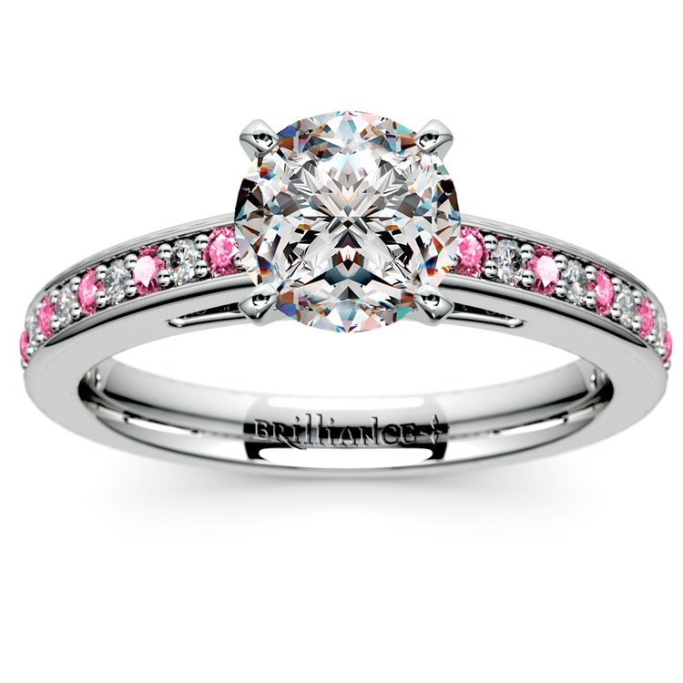 Cathedral Diamond & Pink Sapphire Gemstone Engagement Ring in White Gold | 01