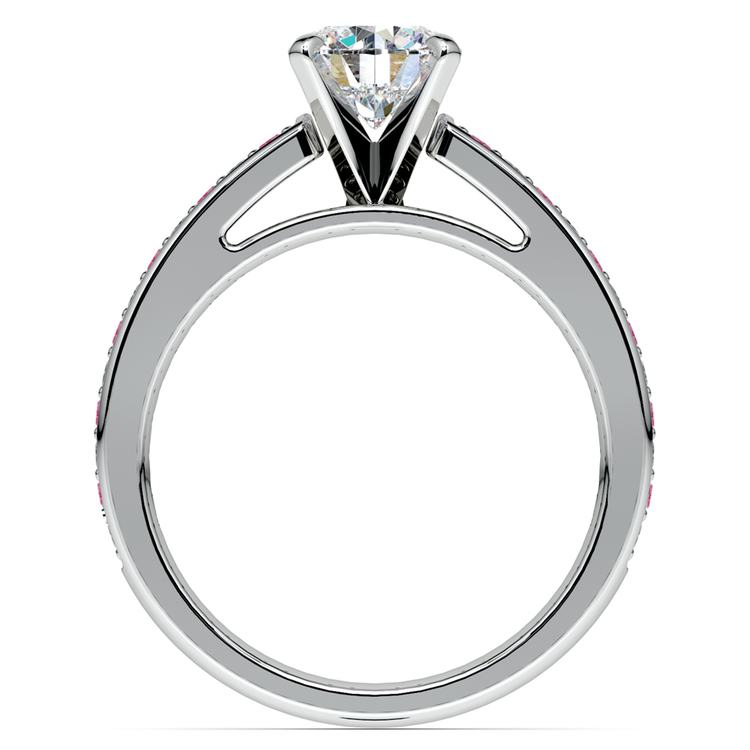 Cathedral Diamond & Pink Sapphire Gemstone Engagement Ring in White Gold | 02