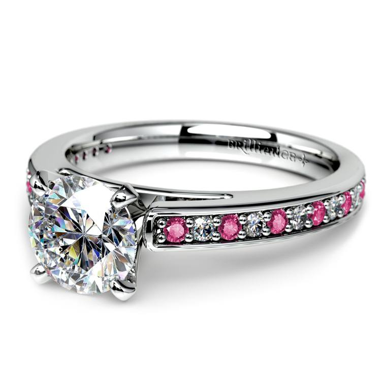 Cathedral Diamond & Pink Sapphire Gemstone Engagement Ring in White Gold | 04